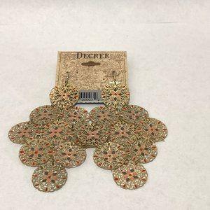 NWT Decree huge long filigree gold boho earrings
